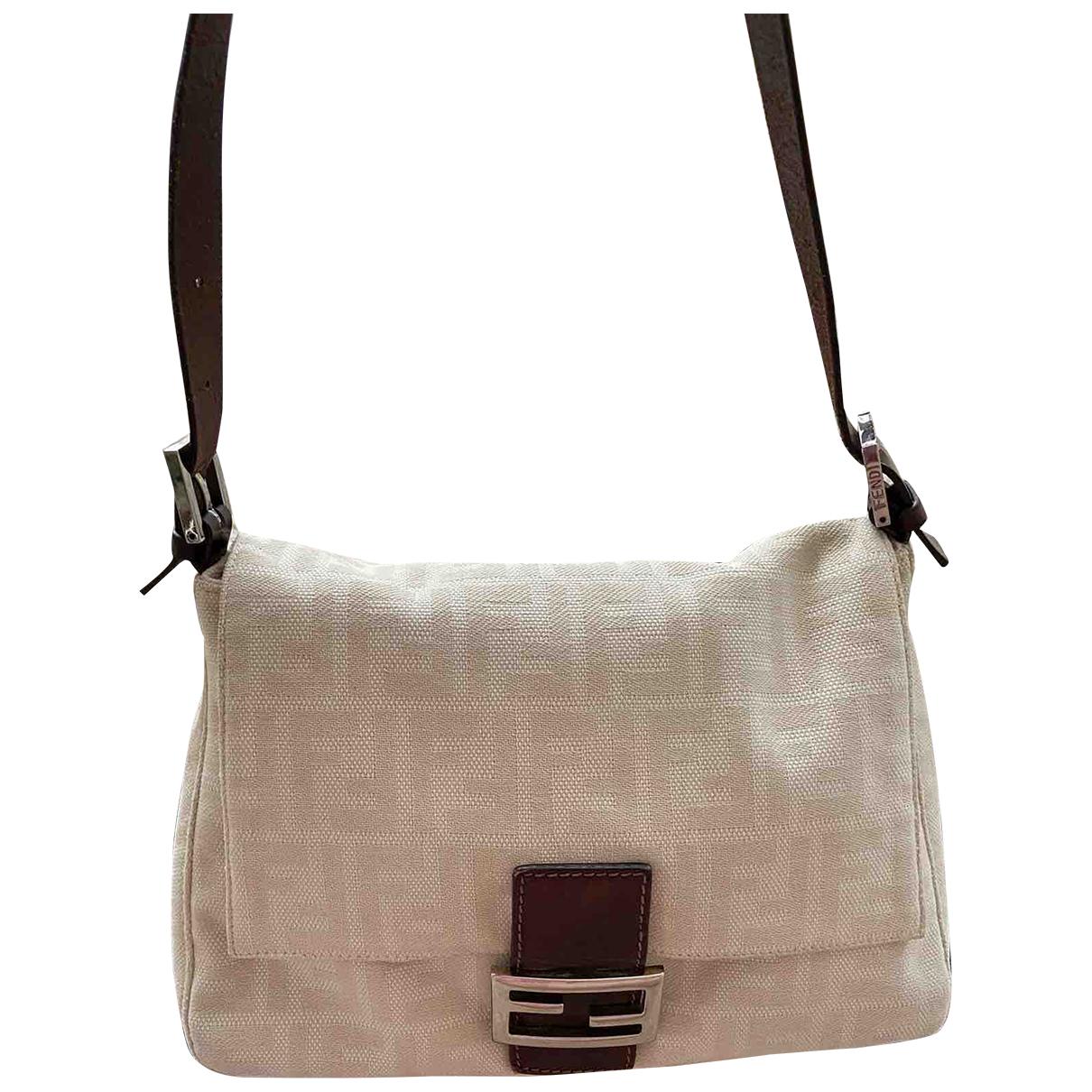 Fendi Baguette Handtasche in  Beige Leinen