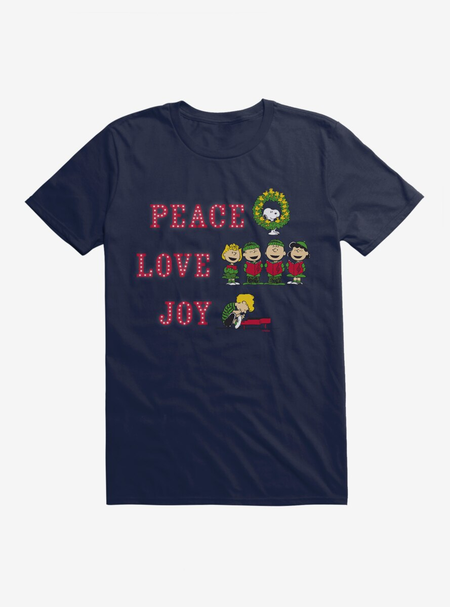 Peanuts Christmas Peace Joy & Love Characters T-Shirt