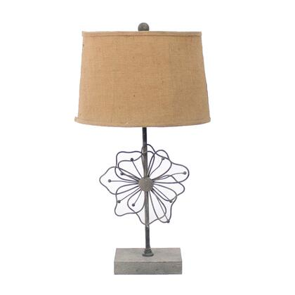 BM217243 Metal Table Lamp with Flower Accent and Block Base Beige and