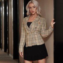 Eilly Bazar Tweed Blazer mit zweireihigen Knopfen und Karo Muster
