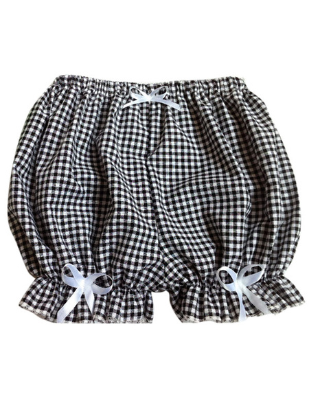 Milanoo Sweet Lolita Bloomers Two-Toned Plaids Bows Cotton Lolita Shorts For Women