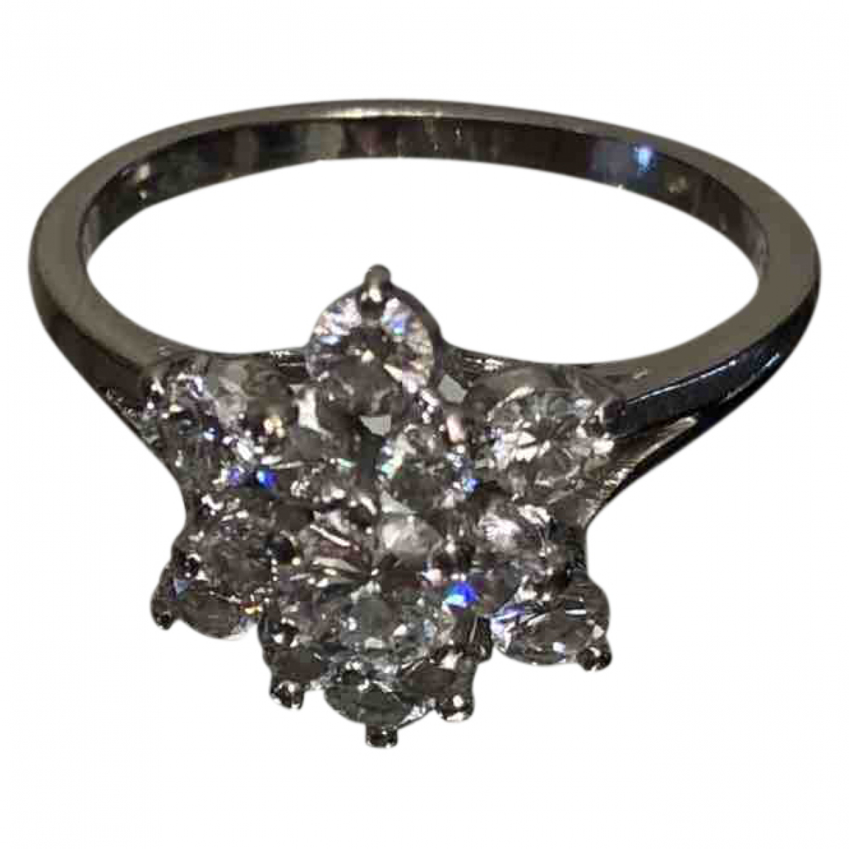 Non Signe / Unsigned Motifs Etoiles Ring in Weissgold