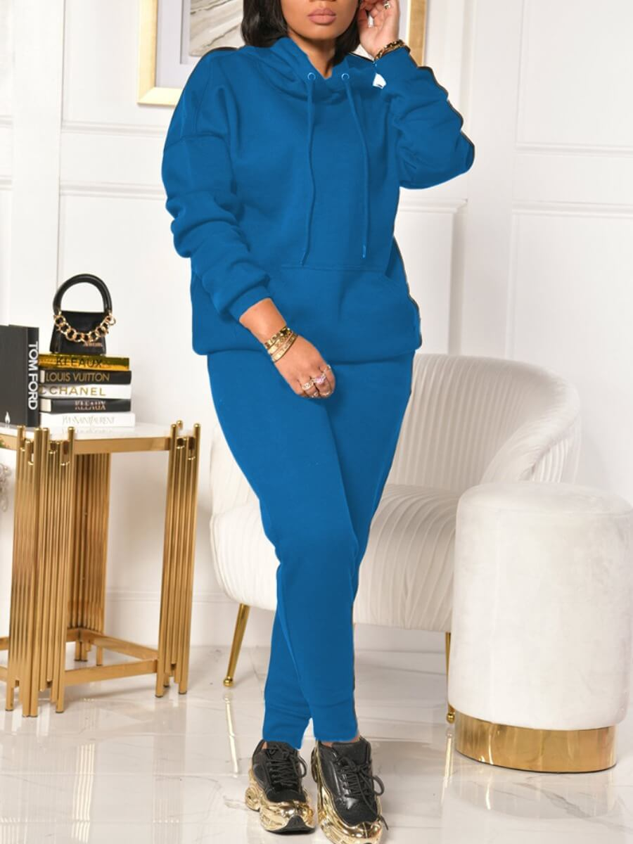 LW Lovely Casual Hooded Collar Long Sleeve Blue Two Piece Pants Set