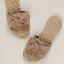 Woven Twine Sole Knot Detail Slide Sandals