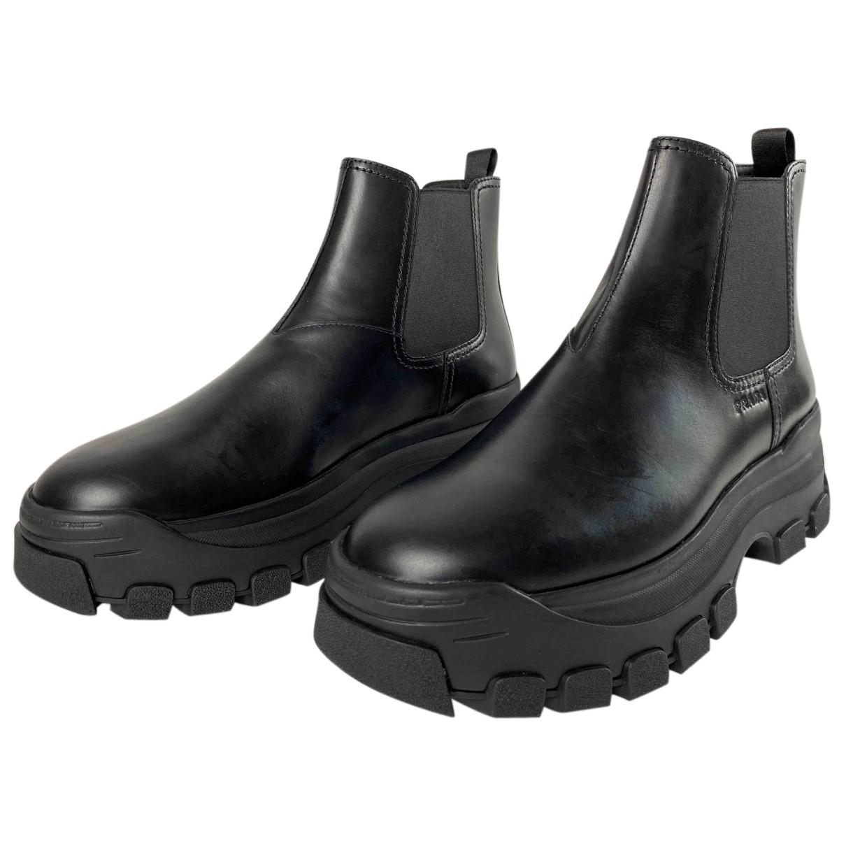Prada N Black Leather Boots for Men 12 UK