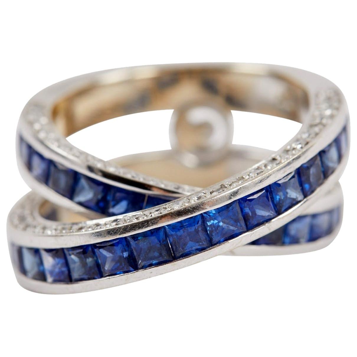 David Morris - Bague   pour femme en or blanc - bleu