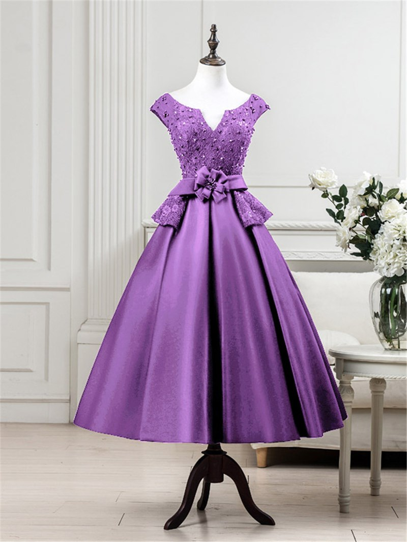 Ericdress Cap Sleeves Beading Lace Tea-Length Evening Dress
