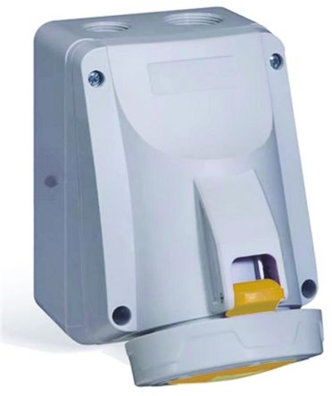 Legrand , P17 Tempra Pro IP66, IP67 Yellow Wall Mount 2P+E Industrial Power Socket, Rated At 32.0A, 110.0 V