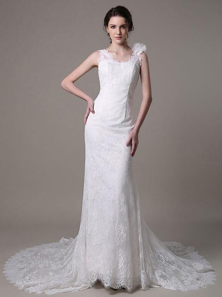 Milanoo Vestido de novia con cuello en V y flor