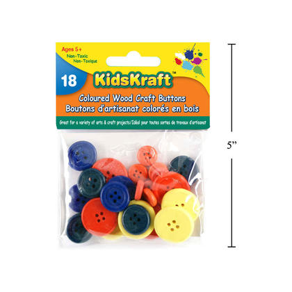 Mixed Sizes of Round Wooden Buttons for Sewing and Crafting, 18pcs, Assorted Colors