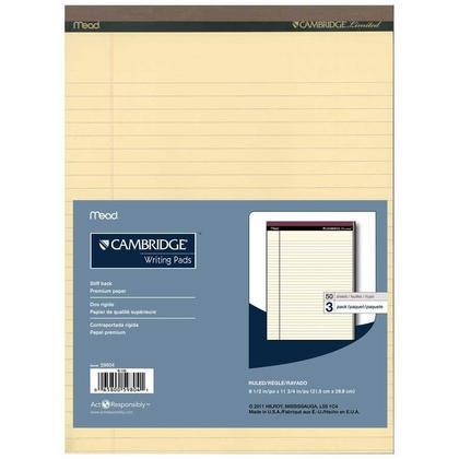 Cambridge® Bloc-notes de bureau, 8.5 X 11 po, 50 feuilles, Paquet de 3