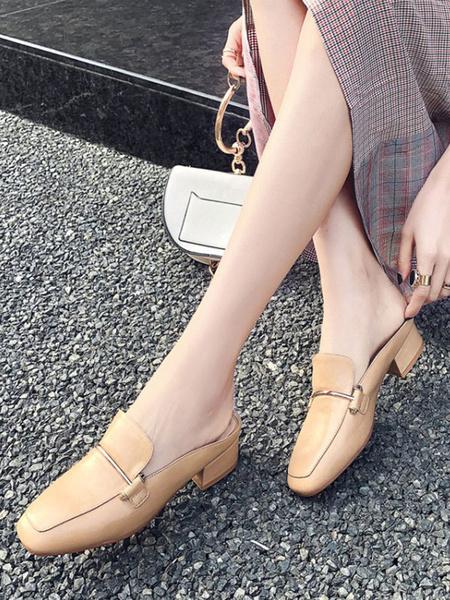 Milanoo Women Mules Ecru White Square Toe Metal Detail Slip On Shoes