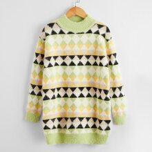 Pulloverkleid mt Argyle Muster