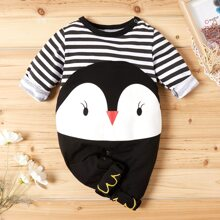 Toddler Girls Penguin Print Claw Embroidery Jumpsuit