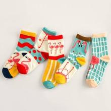 5pairs Flamingo & Striped Pattern Socks