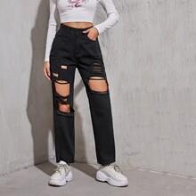 High Waist Ripped Straight Leg Jeans