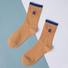 Socken mit Karikatur Grafik