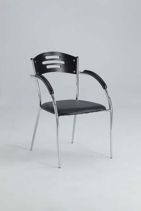 Yolanda Collection YOLANDA-AC-BLK Arm Chair with Solid Rubber Wood  Chrome Frame and PVC Upholstery in Black