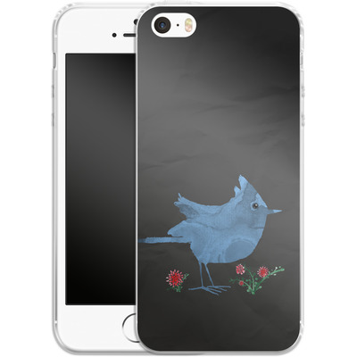 Apple iPhone 5s Silikon Handyhuelle - Watercolour Bird Black von caseable Designs