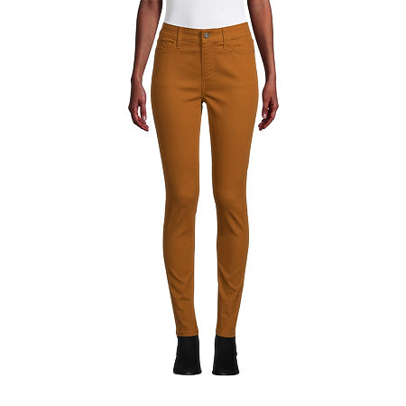 St. John's Bay Womens Mid Rise Skinny Fit Jean, 12 , Yellow