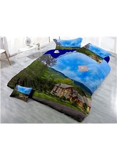 Green Tree and Farmhouse Wear-resistant Breathable High Quality 60s Cotton 4-Piece 3D Bedding Sets