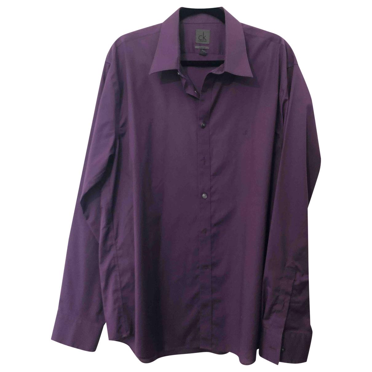 Calvin Klein - Chemises   pour homme en coton - violet