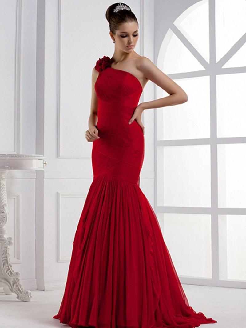 Ericdress Elegant Mermaid Floor-Length One-Shoulder Flower Evening Dress