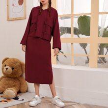 Drop Shoulder Pocket Front Hoodie & Split Side Skirt Set