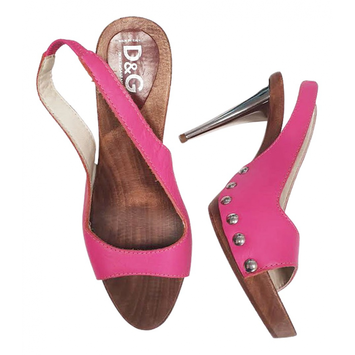 D&g \N Pink Leather Sandals for Women 39.5 EU