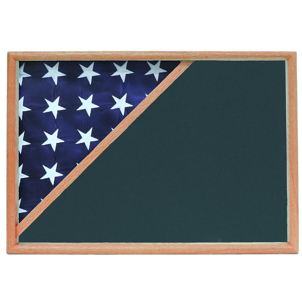 Memorial Flag Case, Oak, Army Green background