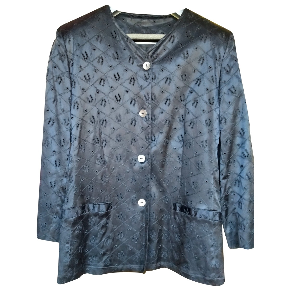 Emanuel Ungaro \N Black Cotton coat for Women 48 IT