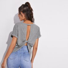 Cutout Twist Back Cuffed Sleeve Tee