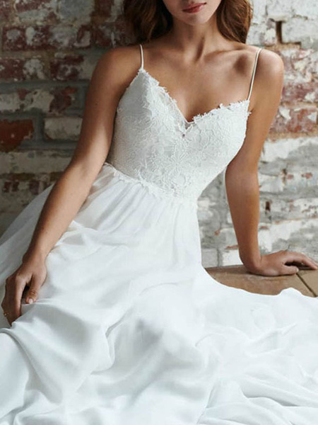 Milanoo Simple Wedding Dress 2020 a line V Neck Straps Sleeveless Lace Chiffon Bridal Dresses With Train for beach party