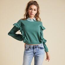 2 in 1 Pullover mit Raffung und Streifen Kragen