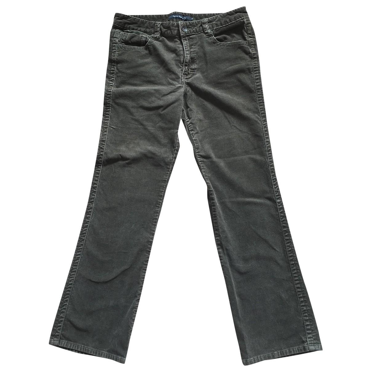 Calvin Klein \N Khaki Velvet Trousers for Women 10 US