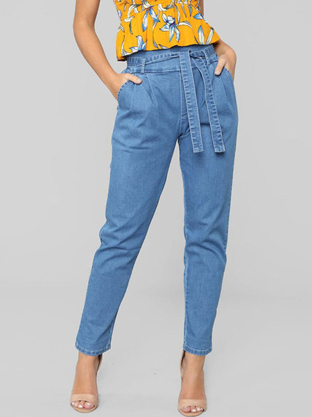 Milanoo High Waist Jeans Women Sash Denim Pants