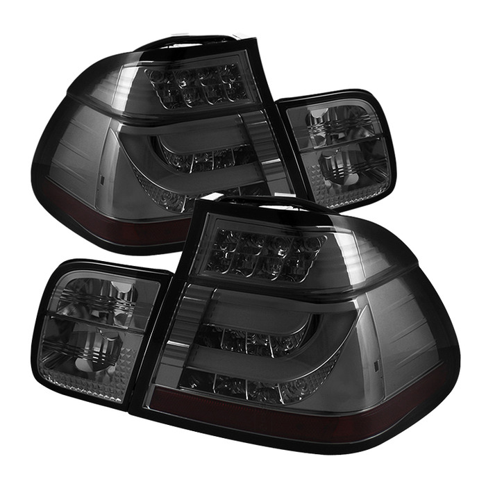 Spyder Auto ALT-YD-BE4602-4D-LBLED-SM Light Bar Style Smoke LED Taillights BMW E46 325i 4Dr 02-05