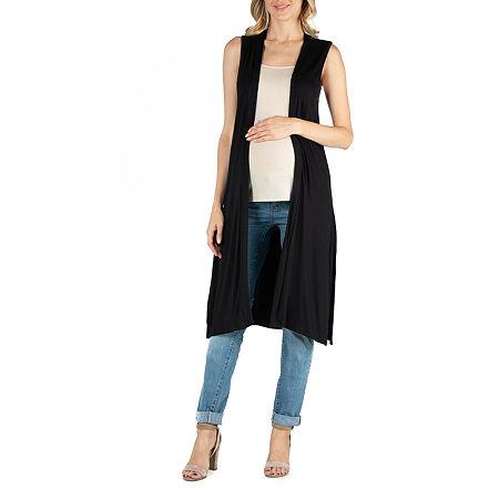24/7 Comfort Apparel Sleeveless Long Cardigan with Side Slit, 1x , Black
