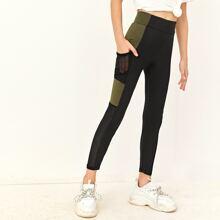 Girls Wide Waistband Contrast Panel Mesh Pocket Side Leggings