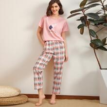Vielfarbig Kariert  Suess Pyjama Sets