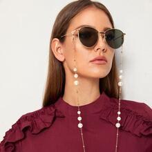 Metall Brillenkette mit Kunstperlen Dekor