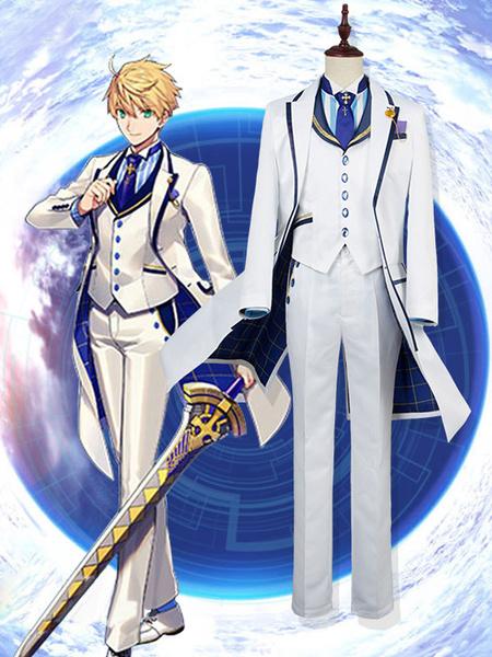 Milanoo Fate Grand Order FGO Arthur Pendragon White Valentine\\'s Day Version Halloween Cosplay Costume