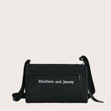 Letter Graphic Crossbody Bag