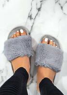 Fashion Slip On Flat Fur Slippers