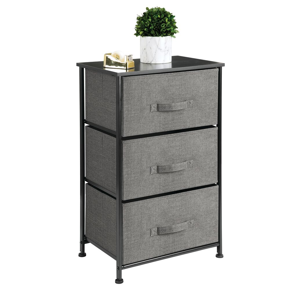 3 Drawer Fabric Storage Table Organizer Unit in Charcoal, 12