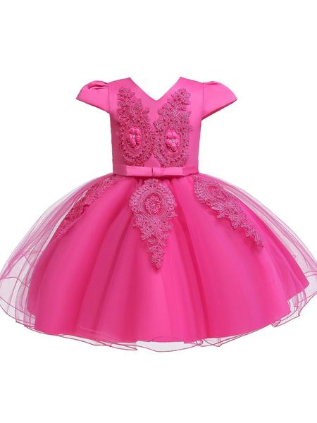 Milanoo Flower Girl Dresses V Neck Short Sleeves Flowers Kids Party Dresses