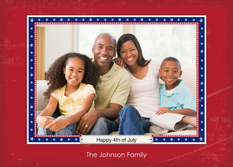 4th of July Photo Cards 5x7 Cards, Premium Cardstock 120lb with Scalloped Corners, Card & Stationery -Red, White and Blue