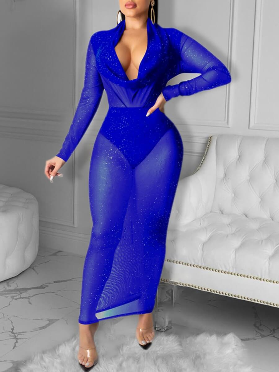 LW Lovely Sexy Deep V Neck See-through Blue Ankle Length Dress
