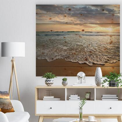 WD10728-46-36 Bright Cloudy Sunset In Calm Ocean - Seashore Print On Natural Pine Wood -