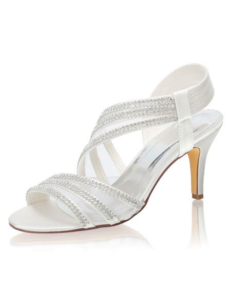 Milanoo Wedding Sandals Rhinestones Peep Toe Bridal Shoes